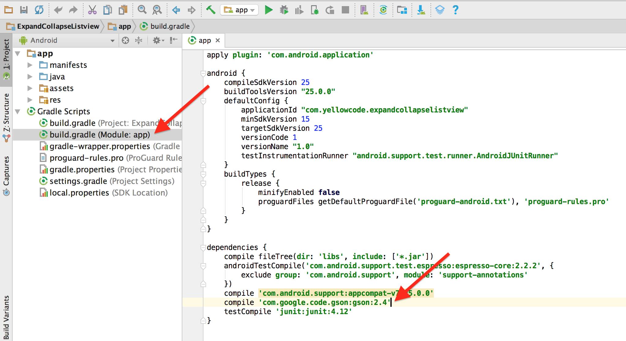 File build.gradle và nơi add thư viện Gson